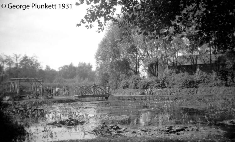 Wensum Park lily pond with rustic bridge [B163] 1931-00-00